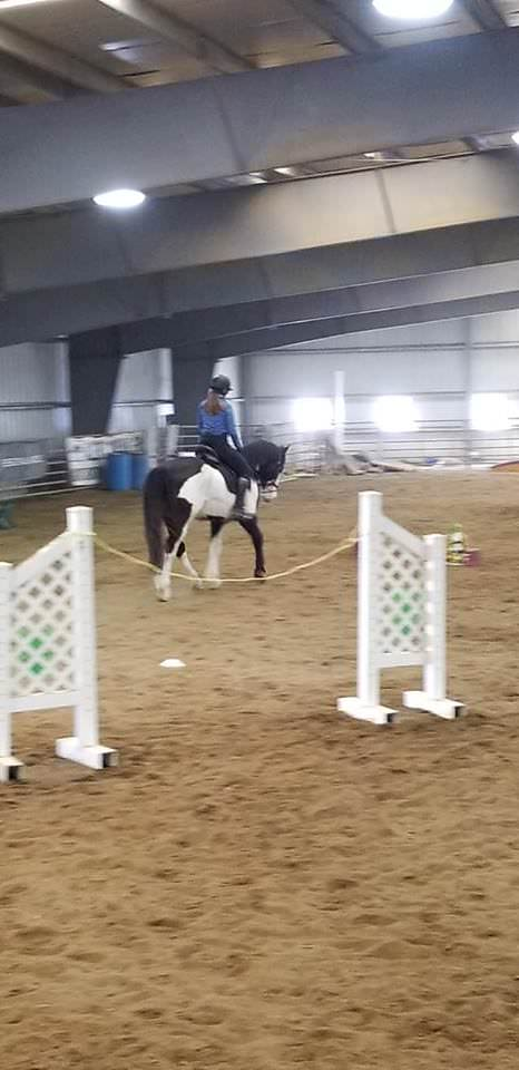 Keep Stables working equitation rider Audrey and her horse Apollo at a clinic in April 2019.